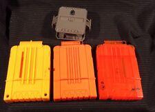 Lot of 3 NERF 6 Round Dart Clip Gun Ammo Magazine & (1) Flip Clip Connector