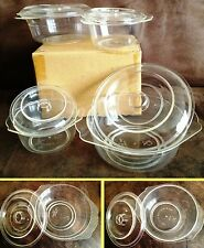 4 Microwave Round Circular Cooking Pots Dishes Stain Free Small Med Kitchen Aid