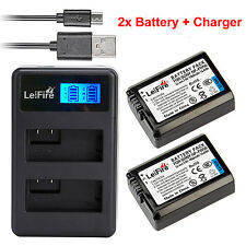 2x NP-FW50  Battery + DUAL Charger For Sony A6000 A5000 A55 NEX7 NEX5 5T 5R 5N
