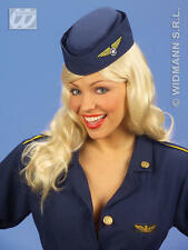 Azul Marino Azafata asistentes Sombrero Thunderbirds estilo Fancy Dress
