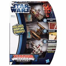 3-Pack Star Wars Die Cast Titanium Vehicle AT-TE Hailfire Droid Republic Gunship