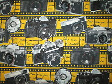 CAMERA VINTAGE MOVIE STAR HOLLYWOOD CAMERAS YELLOW COTTON FABRIC FQ