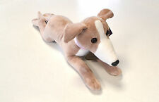 "Beautiful Fawn and White Greyhound Soft Toy ""Faith"" With Detailed Collar - 40cm"