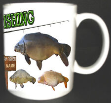 I LOVE CARP FISHING MUG PERSONALISED WITH A NAME FOC, MIRROR,COMMON, RODS ETC