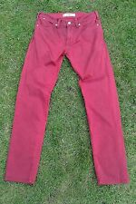 Ladies LEVI's 519 Slim Leg Jeans W30 L32 Red Cotton Pant Women's Clothes Vintage