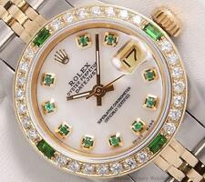 Rolex Lady Datejust 2 Tone 18k-White MOP Green Diamond Dial-Emerald Diamd. Bezel