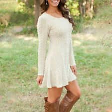 Winter Ladies Long Sleeve Jumper Dress Sweater Bodycon Baggy Casual Mini Dress