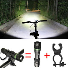 5000 Lumens 3Modes Bike Bicycle CREE T6 LED Zoomable Flashlight 360°Mount Clip