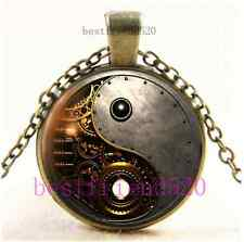 Vintage Steampunk Ying Yang Cabochon Glass Bronze Chain Pendant Necklace