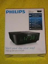 Philips Alarm Clock Radio FM Digital Tuning, LED, Dual Alarm - Black, New!