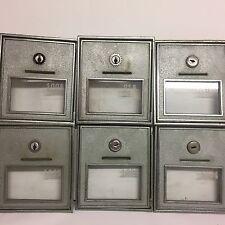 6 Vtg CORBIN Post Office Mail Box Door Heavy Nickel Plated Bronze #2 No Keys