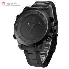 Mens Shark Digital LED Date Day Army Big Face Sport Grey Quartz Wrist Watch
