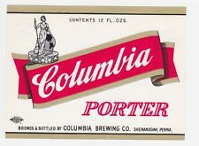 Columbia Porter (red label) Beer Label