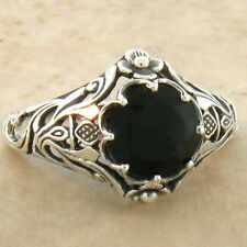 GENUINE BLACK ONYX ART NOUVEAU .925 STERLING ANTIQUE STYLE RING SIZE 10,    #761