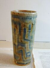 vintage mid century modern pottery drip glaze vase pot abstract