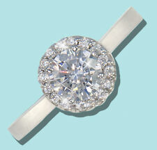 .75 ct Halo Ring Top Russian Quality CZ Simulated Mossanite Imitation SS Size 5