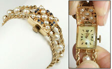 Ladies All 14K Yellow Gold Chalet Pearl Sapphire Bracelet Dress Watch