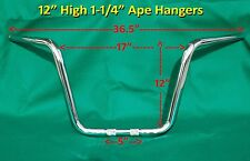 "12"" BEEFY Chrome Ape Hanger Handle Bar fit Harley Davidson Dyna Wide Super Glide"