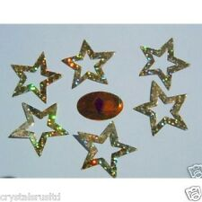 6  30mm GOLD STAR sequins iron-on hot-fix transfers art