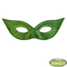 CHARLESTON GREEN GLITTER POISON IVY SUPERHERO EYEMASK MASKD BALL - fancy dress