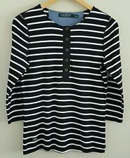 Lauren Ralph Lauren Denim Classics Women's Knit Top Medium Black White Stripe