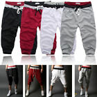 New Casual Mens 3/4 Knee Jogger Sport Shorts Baggy Gym Harem Pants Rope Trousers