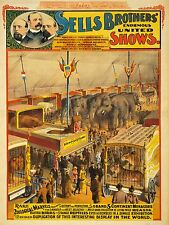 ADVERTISING EXHIBITION CIRCUS SELL BROTHERS ZOO ANIMAL MARVEL SHOW POSTER LV778