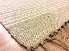 STRIPED NATURAL Cotton Jute Handloomed Cream Beige Washable Rug Durrie S-L 40%OF