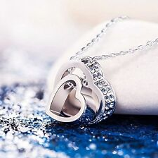"""LOVE YOU FOREVER"" Engraved Heart Necklace Swarovski Crystals 18K White Gold GP"