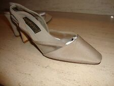 STYLISH AND RARE DONNA KARAN COLLECTION TAUPE SILK SLINGBACKS