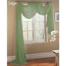SAGE GREEN SCARF SHEER VOILE WINDOW TREATMENT CURTAIN DRAPES VALANCE