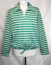 MLM Mayer Lang Marquis - M/L - Vintage Green Striped Over-Size Collar Tunic Top