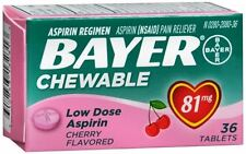 Bayer Chewable Low Dose 'Baby' Aspirin 81 mg Tablets Cherry 36 Tablets (2 pack)