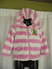 BNWT Pink/White Dorothy The Dinosaur Girls Sz 4 Fuzzy Zip Front Hoodie Jacket
