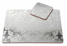 Pimpernel 4 x Damask Silver 30.5cm Placemats & Coasters MDF Cork Back Table Mat