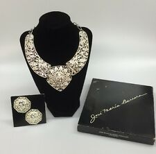 Vintage Jose Maria Barrera Silverplated Necklace & Matching Earrings Signed Box