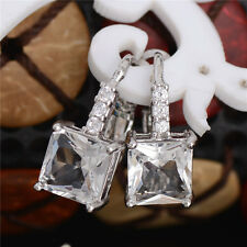 925 Silber Kreole Kristall Ohrringe Silber Creolen Zirkonia Ohrringe Durchzieher