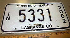 Indiana LICENSE PLATE 2002 NON-MOTOR VEHICLE Amish Buggy Plate, 5331, lagrange