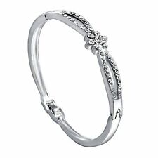 *UK* Silver Ladies flower 2 row diamante Crystal bracelet bangle GIFT