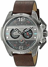 Diesel Men's Chronograph Ironside Gunmetal Brown Leather Watch DZ4387