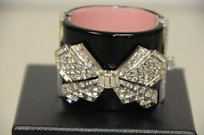 $1900 Authentic Chanel 14c Crystal CC BOW Black Cuff Bracelet Sold Out GLAM RARE