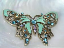 Estate Avon Signed Large Blue Enamel BUTTERFLY w Orange Rhinestones Brooch Pin