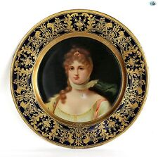 Antique 1905 Adorable Vienna Art Plate 'Queen Louise of Prussia' John Pritzlaff