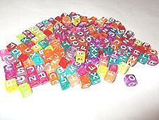 200pcs 7mm Alphabet CUBE Acrylic Beads -  Transparent ASSORTED COLORS / MIXED
