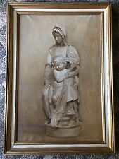 Madonna with Child Grisaille  Oil on Canvas Antique European Painting circa 1910