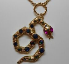 Betsey Johnson Pink Eyed Multi Colored Crystal Snake Pendant Long Necklace