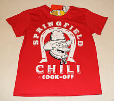 The Simpsons Springfield Chili Boys Red Printed Short Sleeve T Shirt Size 9 New