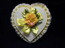 Vintage Valentine Heart Candy Box Yelllow With Original Box