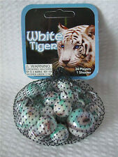 White Tiger  Net Bag Of 24 Player Mega Marbles & 1 Shooter-Instructions & Facts