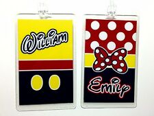 DISNEY Personalized MICKEY MOUSE & MINNIE MOUSE Luggage Tags ( Set of 2 ) NEW